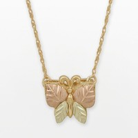 Black Hills Gold Tri-Tone Butterfly Necklace (Yellow)