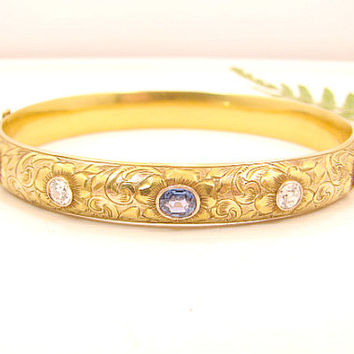 Antique Diamond Sapphire Bangle Bracelet, Old European Cut Diamonds, Blue Sapphires, Intricate Flower Vine Design, Signed, Victorian Era