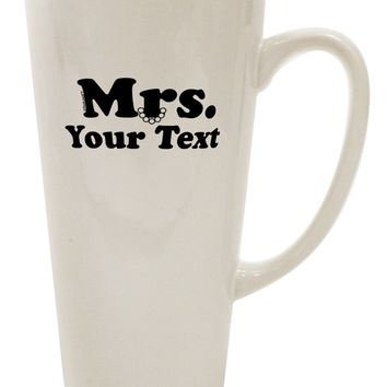 Personalized Mrs Classy 16 Ounce Conical Latte Coffee Mug by TooLoud