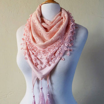 """Womens Scarf """"Sienna"""" in ROSE/PINK combination - shawl cowl neckwarmer - accessories"""