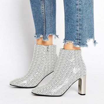 Sol Sana Alicia Polka Dot Snake Print Leather Heeled Ankle Boots at asos.com