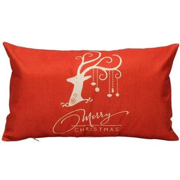 30*50CM Merry Christmas Elk Pattern Cushion Linen Pillow Cover