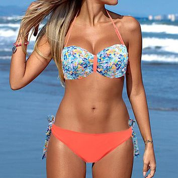 Womens Halter Floral Bikini Bandeau Push Up Swimsuit for Women 2017 Swimsuit Sexy Brazilian Bikini Bathing Suit swimwear