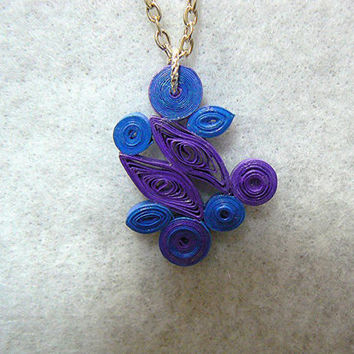 Hand Quilled Paper Abstract Design Necklace, Silver Plated Chain, Blue, Purple, Hand Made, OOAK