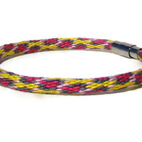 NEW-- yellow and pink spot pattern kumihimo bracelet with stainless steel magnetic clasp