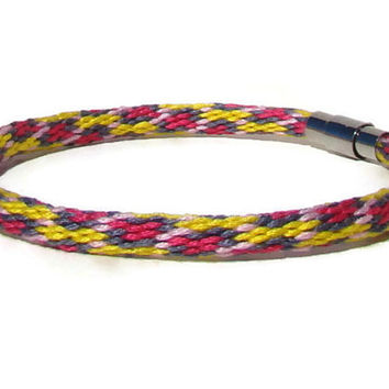 NEW-- yellow and pink spot pattern kumihimo bracelet with stainless steel  magnetic clasp 8a3d5bc8024e