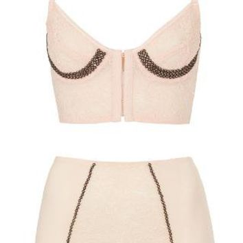 Studded Lace Bralet and High Waist Knickers - Topshop