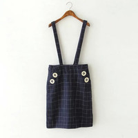 Blue Plaid Pocket Skirt With Strap