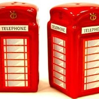 London Red Telephone Box Cruet Set (Salt and Pepper pots) from the HDIUK Great British collection
