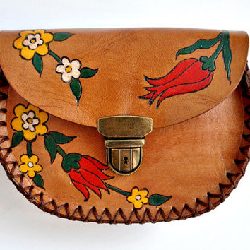 Leather coin purse/clutch bag wallet, hand crafted, hand painted with flowers for women