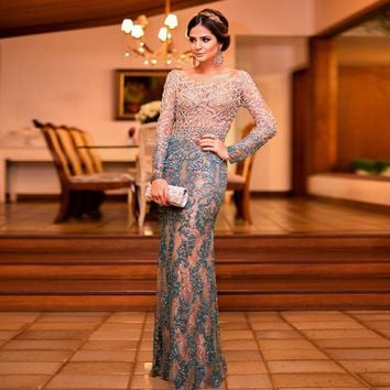 New Arrival High Quality Heavy Crystal Beaded Formal Evening Dresses Backless Long Sleeves Sexy Long Prom Dresses Party Dress