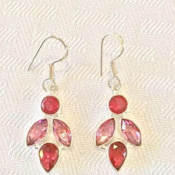 Garnet and Kunzite sterling silver earrings
