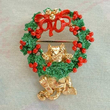 AJC Christmas Wreath Pin Brooch Hanging Cat Red Green Glitter