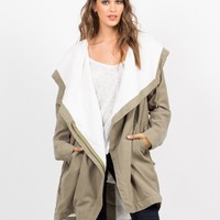 Military Hooded Shearling Jacket
