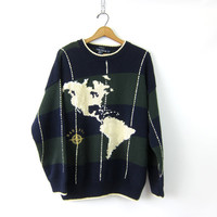 vintage Preppy Oversized Chunky Sweater Blue Green nautical Cotton Jumper South America Continents North America Compass USA size Medium