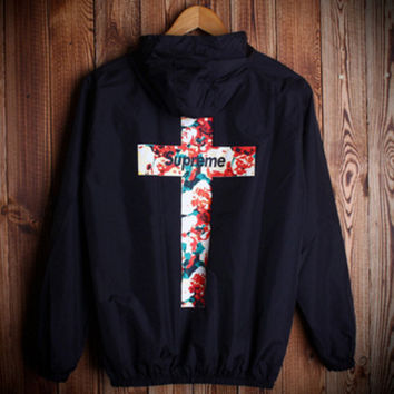 Fashion Unisex Lover's Supreme Sports Coat Windbreaker Black Cross