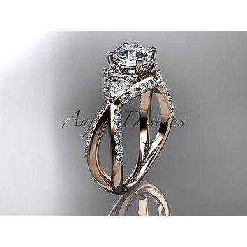 "Unique 14k rose gold diamond engagement ring ""Forever One"" Moissanite ADLR318"