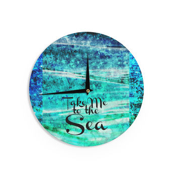 "Ebi Emporium ""Take Me to the Sea"" Aqua Glitter Wall Clock"