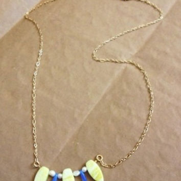 The Zara Necklace: Gold Chain, Gemstone, Glass & Pearl