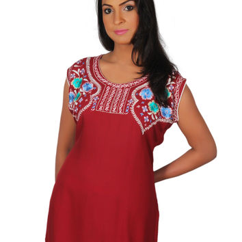 Women's Maroon Embroidery Tunic