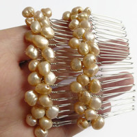 Pearl combs, peach freshwater pearls silver metal hair combs, UK shop