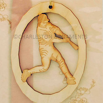 Unique Wooden Baseball Engraved Ornament ~ FREE CUSTOMIZATION