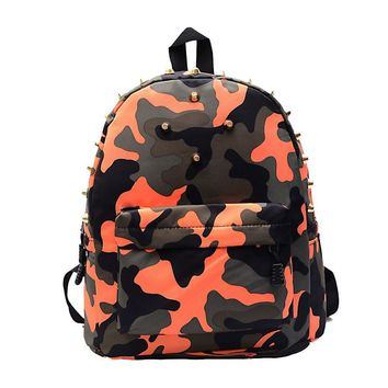 Indira 2017 Children students backpack teen boys girls School Bag camo Rivets Camouflage Backpack Cute Baby Toddler