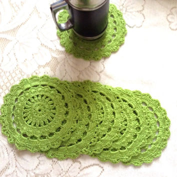 Green Coasters, Set of 6 Crocheted Coasters, Yarn Coasters, Wool Coasters, Table Setting, Dinner Coasters, Tea Time Coasters, Green Mats