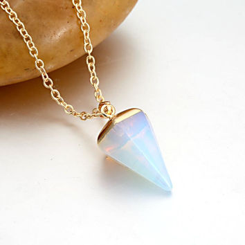 Best Gifts 2016 New Trendy Summer Style Hot Fashion Gold Chain Tapered Faux Stone Pendant Necklace for Women