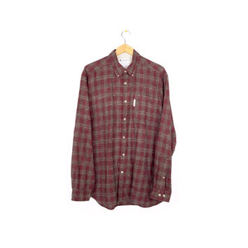 Columbia flannel shirt - red + grey classic plaid - outdoors - mens M - L