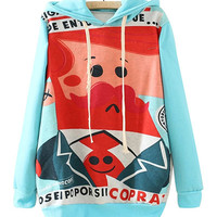 Blue Cartoon Patterns Print Sweatshirt With Hoodie