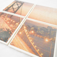 California San Francisco Bridge Tile Map Coasters With Foamed Backs