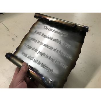 Burnt metal 2nd Amendment Scroll