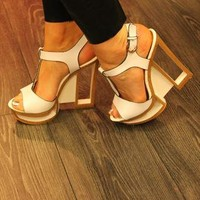 White Cut Out Wedge Shoe from PinkStrawberry