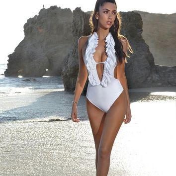 White Ruffled One Piece Swimsuit