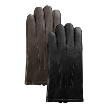 Luxury Lane Men's Thinsulate Lined Lambskin Leather Dress Gloves - Black X-Large