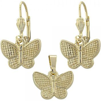 Gold Layered 10.179.0018 Earring and Pendant Adult Set, Butterfly Design, Diamond Cutting Finish, Gold Tone
