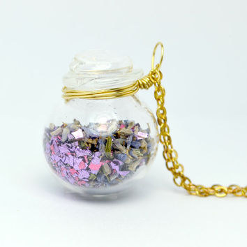 Dried natural lavender flower in blown glass jar by thestudio8