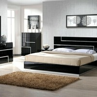 4 pc Black lacquer finish wood modern style Queen bed set with silver inlay