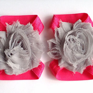Gray and Dark Pink Baby Barefoot Sandals Shabby Flower Foldover Elastic 6-12 Months