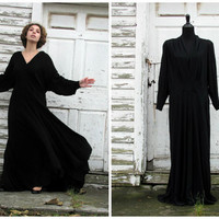 Silent Film Starlet Gown/ 1930s Gown/ 1940s Gown/ Flowing Black Drapes/ Formal Party Cocktail Dress/ Evening Gown