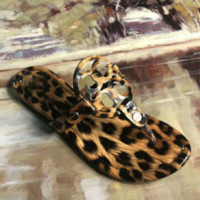 Tory burch new fashion women metal slippers sandals shoes Leopard grain