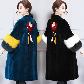 2017 Fur Warm Winter Coat Sheep Shearing Long Jacket Sheared Sheepskin with Fox Fur Fur Outwear Fashion Black Blue