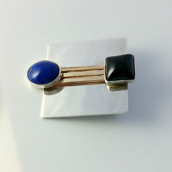 Silver Square Brooch - Mod Square Pin - Handmade Minimalist Pin - Blue Cabochon and Black Onyx Brooch - Gold Bars - Mod Brooch