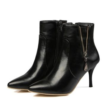 Leather Ankle Boots High Heel Shoes Short Chelsea Ladies Fashion Booties