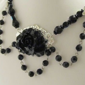 Black Flower Statement Necklace - Vintage Inspired, Victorian, Goth, SteamPunk Party, Formal, Chic