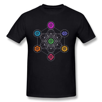 Men's Metatrons Cube Chakras Cosmic Energy Center T-Shirt