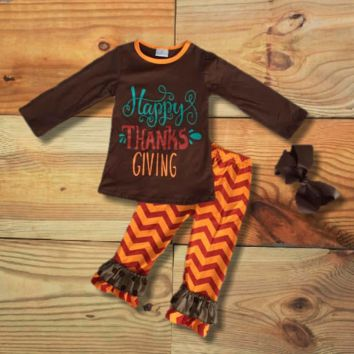 """Happy Thanksgiving"" Chevron Outfit"