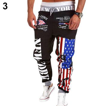 2016 New Product Men US Flag Dance wear Baggy Harem Pants Slacks Trousers Sweatpants