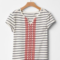 Gap Girls Embroidered Stripe Tee